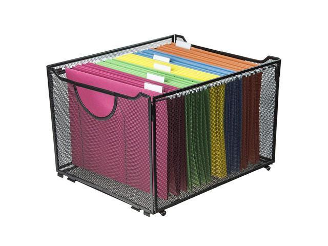 2 Pack Office Metal Mesh File Organizer with Handle Letter Storage Crate Folder Holder Box for Home Desk Black