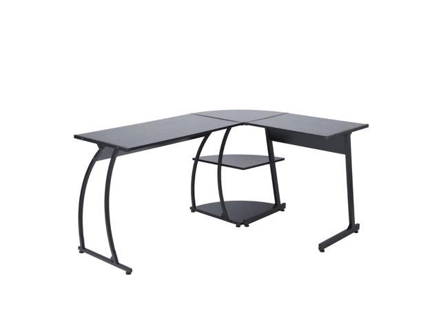 Furniturer Corner Writing Desk Office Computer Task Table Wooden Metal Black Boss Student