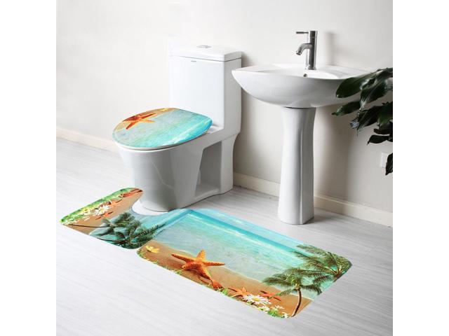 3PCS/SET Sea Beach Bathroom Non-slip Mat Pedestal Rug + Lid Toilet Cover +  Bath Mat Set for Bath Decoration - Newegg com