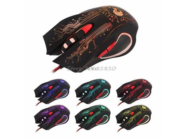 BINGFEI USB Wired 1000dpi 6 Buttons Optical Gaming Mouse LED Backlight for PC