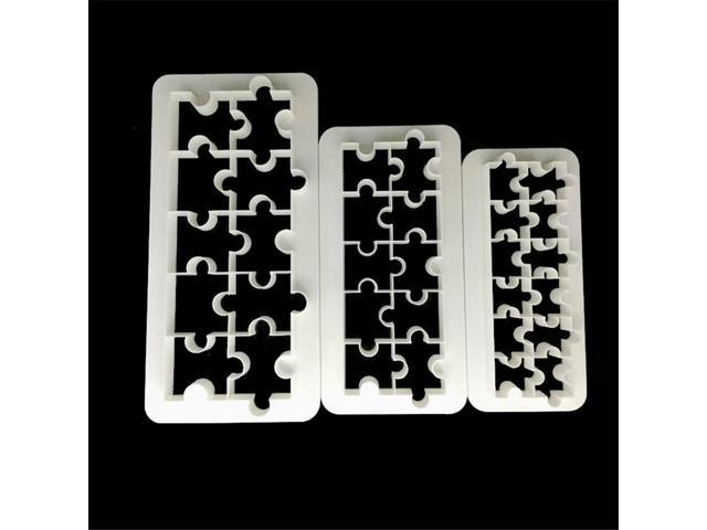 3PCS Puzzle Geometry Fondant Cookie Cutter Cake Mold Decorating Baking Tools