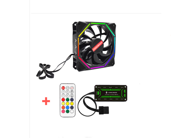 Remote Control Computer Case PC RGB Cooling Fan Adjust LED 120mm Quiet Cooler