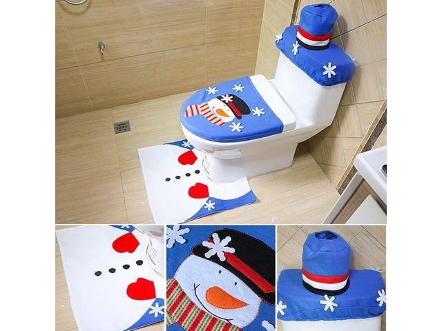 Outstanding 3 Pcs Snowman Toilet Seat Cover Set Bathroom Non Slip Pedestal Rug Lid Toilet Cover Bath Mat Washable Set Pabps2019 Chair Design Images Pabps2019Com