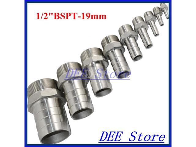 """1//2/"""" Male Thread Pipe Fitting x12mm Barb Hose Tail Connector Stainless Steel NPT"""