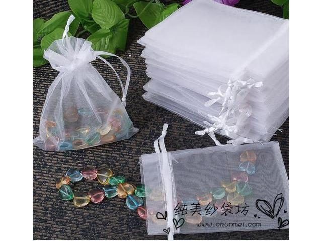 100pcs White Organza Bag 17x23cm Drawable Jewelry Gift Packaging Favour Wedding Bags