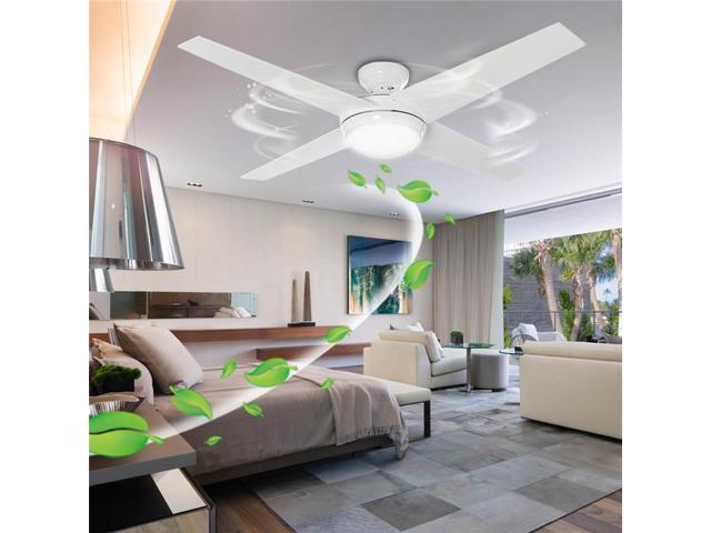 Modern 60w Ceiling Fans With Lights 4 Blade 52 Ceiling Fan Light Lamp W Curved Blades Remote Control For Bedroom Living Room Newegg Com