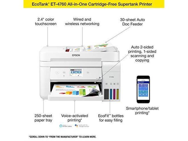 Epson EcoTank ET2760 Wireless Color AllinOne CartridgeFree Supertank  Printer with Scanner and Copier - Newegg com