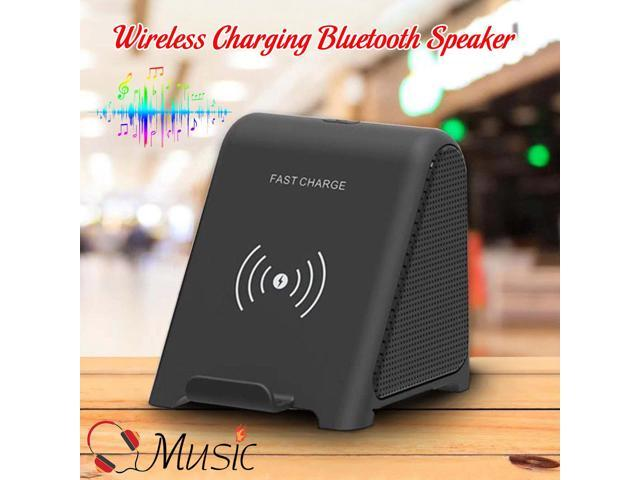 Qi Fast Wireless Charging Stand Charger With Bluetooth Speaker For All Qi Phones Portable Audio Video Speakers Newegg Com