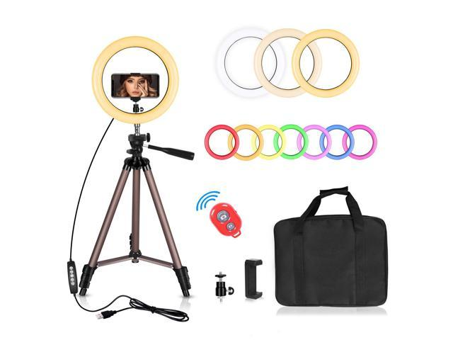 Video Shooting Makeup Portable Halo Light for YouTube Live Streaming 10 inch Desktop Circle Light with 3 Lighting Colors and 10 Brightness Selfie Ring Light with Tripod Stand and Phone Holder