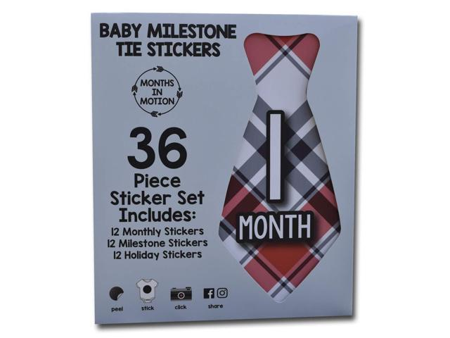 #047 Baby Month Stickers Precut Ties 1 to 12 MONTHS Monthly Bodysuit Stickers Set of 12 Monthly Milestone Tie Stickers for Boys