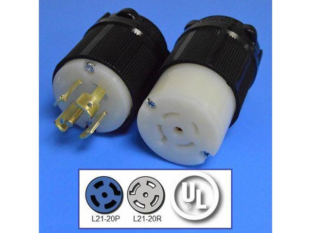 L21-20P and L21-20R Plug and Connector Set, 3-Phase, 20A, 120/208V -  Newegg com