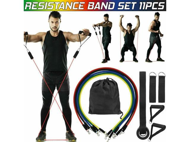 11 PCS Resistance Band Set Pull Rope Pilates Abs Fitness Exercise Workout Bands
