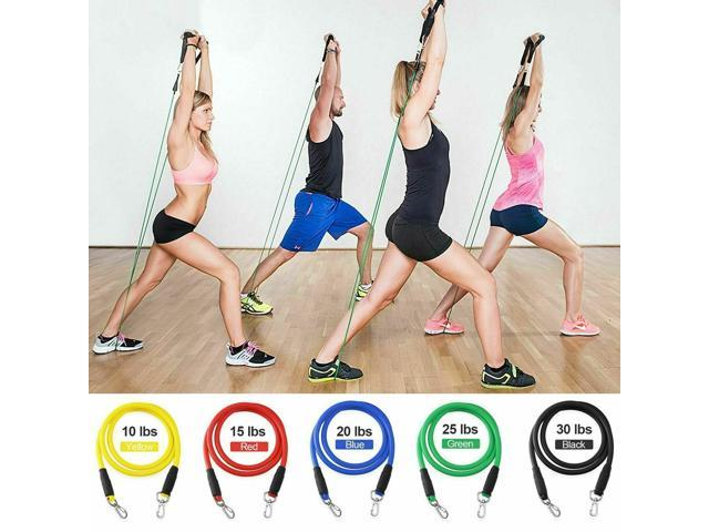 11 pcs Resistance Bands Set Workout Bands Yoga Abs Gym Exercise Fitness Tubes