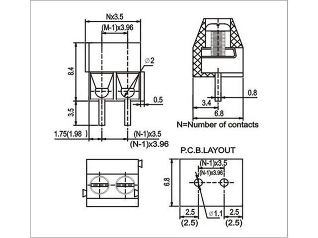 10Pcs/Lot KF350 2Pin 3 5mm pitch PCB Screw Terminal Block Connectors  300V/10A - Newegg com