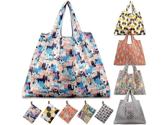 KINGMAS Reusable Grocery Bags, Set of 5 Eco-Friendly Folding Tote Shopping  Bag fits in Pocket, Washable/Durable/Waterproof Nylon holds Heavy Duty