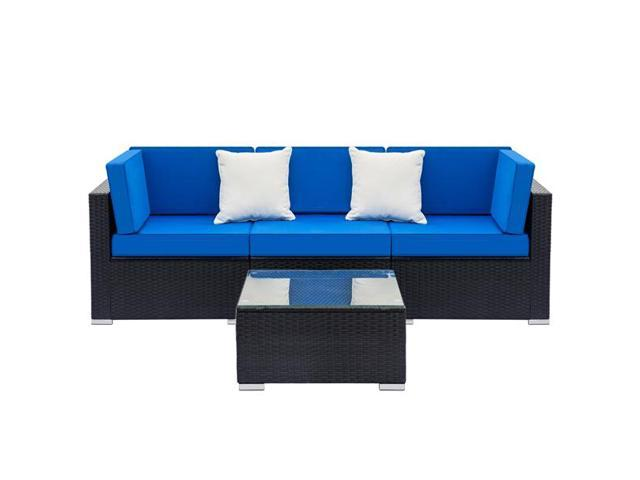 Fully Equipped Weaving Rattan Sofa Set with 2pcs Corner Sofas & 1pcs Single  Sofas & 1 pcs Coffee Table Black - Newegg.com