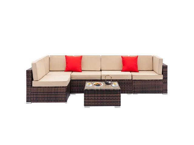 Fully Equipped Weaving Rattan Sofa Set with 2pcs Corner Sofas & 3pcs Single  Sofas & 1 pcs Coffee Table Brown Gradient - Newegg.com