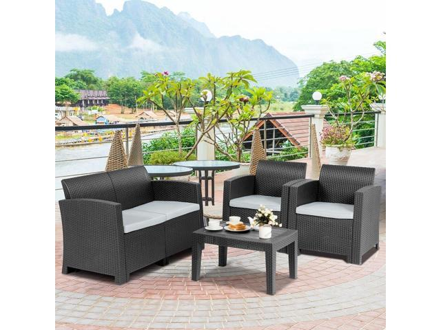 Groovy 4 Piece Patio Molded Rattan Sectional Sofa Set Black Newegg Com Inzonedesignstudio Interior Chair Design Inzonedesignstudiocom
