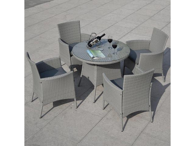 5 Pcs Patio Rattan Dining Table And 4 Chairs Set Newegg