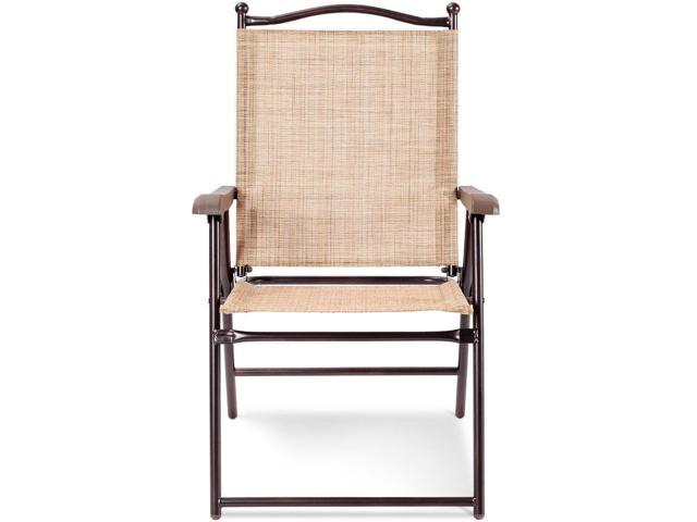 Superb Set Of 2 Patio Folding Sling Back Camping Deck Chairs Beige Newegg Com Gmtry Best Dining Table And Chair Ideas Images Gmtryco