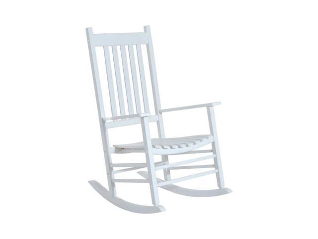 Awesome Versatile Wooden Indoor Outdoor High Back Slat Rocking Chair White Newegg Com Creativecarmelina Interior Chair Design Creativecarmelinacom