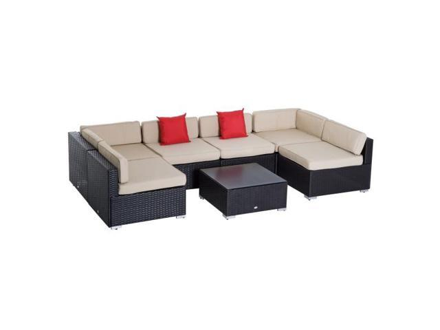 Peachy 7 Piece Ez Assemble Outdoor Patio Rattan Wicker Sofa Sectional Conversation Furniture Set Newegg Com Inzonedesignstudio Interior Chair Design Inzonedesignstudiocom