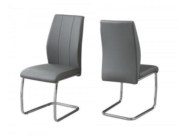 Strange 2 Piece Pu Leather Cantilever Chrome Metal Legged Modern Dining Chair Set Grey Newegg Com Camellatalisay Diy Chair Ideas Camellatalisaycom
