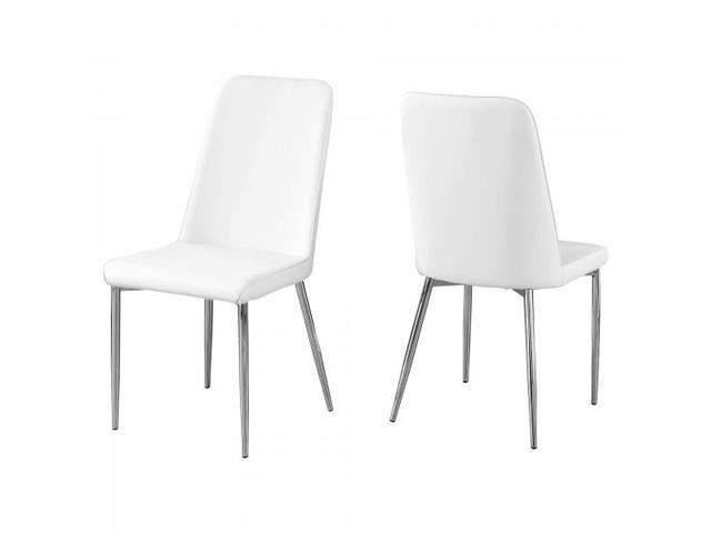 Miraculous 2 Piece Pu Leather Chrome Legged Modern Dining Chair Set White Newegg Com Camellatalisay Diy Chair Ideas Camellatalisaycom