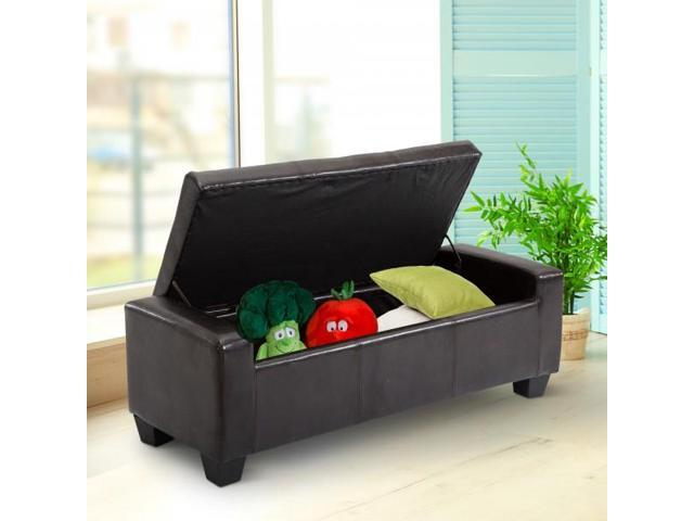 Groovy Unique Large 51 Tufted Faux Leather Storage Bench Ottoman Couch Dark Brown Newegg Com Machost Co Dining Chair Design Ideas Machostcouk