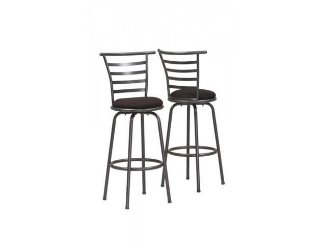 Tremendous 2 Piece 43 Contemporary Microfiber Seat Slat Back Metal Framed Swivel Barstool Chair Set Black Grey Finish Newegg Com Dailytribune Chair Design For Home Dailytribuneorg