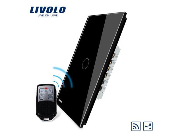 LIVOLO Wireless Remote Control Light Switches with Tempered Glass Panel,  100' RF Range,No Interference, 2-Way 1-Gang Electrical Remote On Off Wall