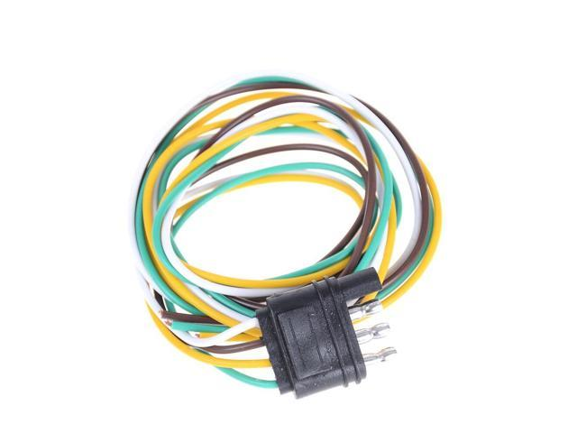 1pc Huxuan Trailer Light Wiring Harness Extension 4 Pin Plug 18 Awg Flat Wire Connector Trailer