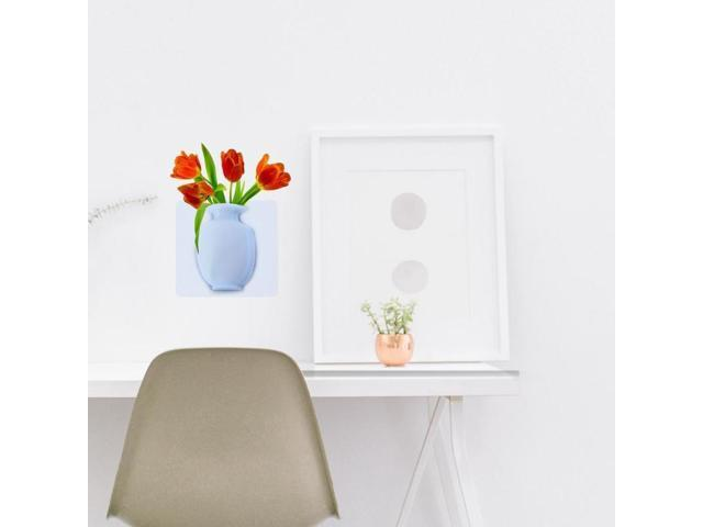 Diy Vase Flowers Wall Stickers Flower Pots Soft Silicone Decorative Vases Home Living Room Kitchen Decor