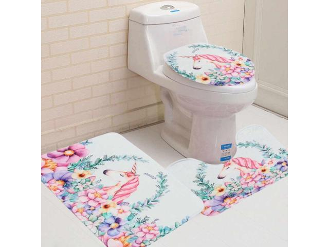 Remarkable 3Pcs Set Bathroom White Horse Pattern Anti Slip Pedestal Rugs Toilet Lid Cover Bath Mat Carpet Shower Washable Bath Room Kit Gmtry Best Dining Table And Chair Ideas Images Gmtryco