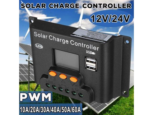 10/20/30/40/50/60A PWN Solar Charge Controller Dual USB LCD Display 12V 24V  Auto Solar Cell Panel Charger Regulator PV Home - Newegg com