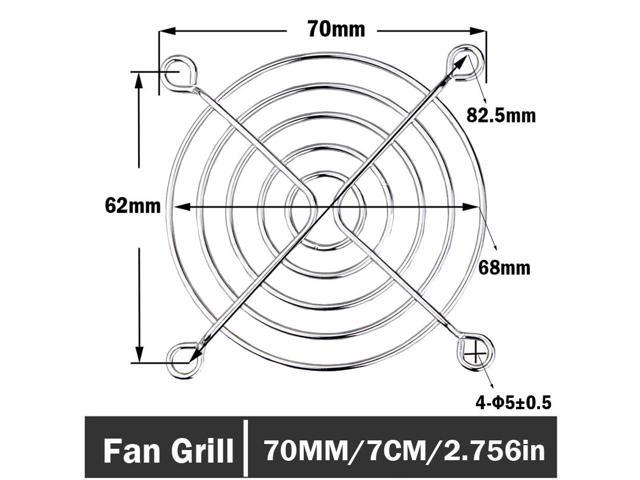 2 Pieces 70mm Computer PC Case Fan Grill Protector Metal Finger Guard Cover