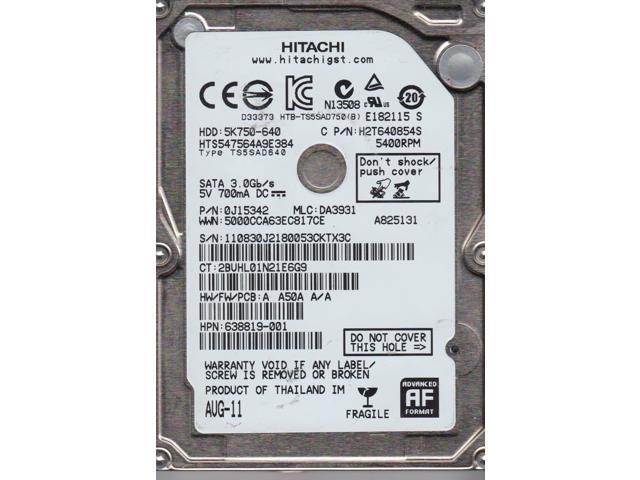 Hitachi TravelStar 5K750 HTS547564A9E384 640GB 2 5