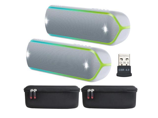 Black-Green zip Khanka Hard Case Carrying Travel Bag for Sony SRS-XB22 Compact Water Resistant Wireless Speaker.