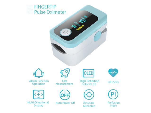 Portable Fingertip Saturation Monitors OLED Display for Home White Without Battery