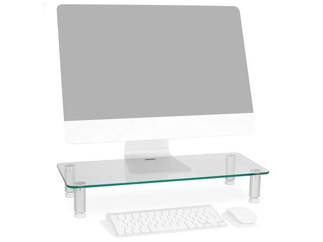 Mount-It 27.5 Inches Monitor Riser Stand with Tempered Glass Platfrom