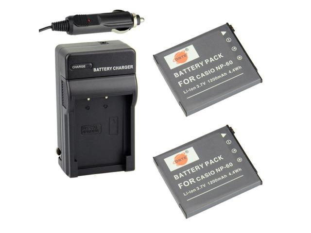 DSTE 2x NP-60 Battery + DC75 Travel and Car Charger Adapter for Casio  Exilim EX-FS10 EX-S10 EX-S12 EX-Z9 EX-Z19 EX-Z20 EX-Z21 EX-Z25 EX-Z29  EX-Z80