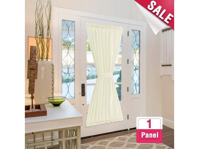 Privacy French Door Panels White Curtains For Doors Faux Silk 72 Inch Length 1 Panel With Bonus Tieback Newegg