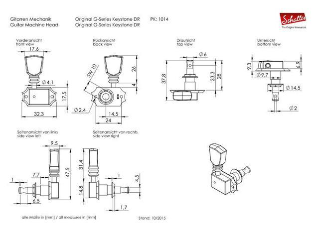 Genuine Schaller Original G Series Deluxe Keystone DR 3+3 Nickel 10140123.17.36