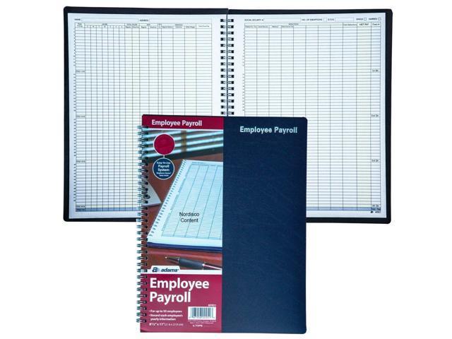 "8-1//2 x 11/"" Adams AFR51 Employee Payroll Record Book 50-Employee Capacity"