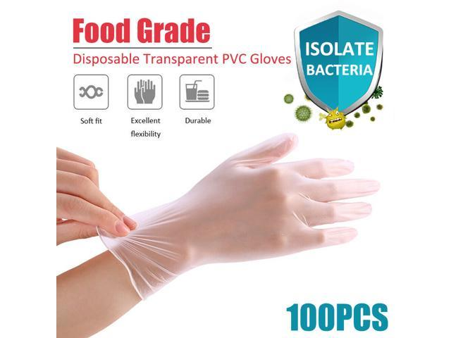 100Pcs PVC Disposable Gloves Food Grade Protective Isolation Powder Free Gloves