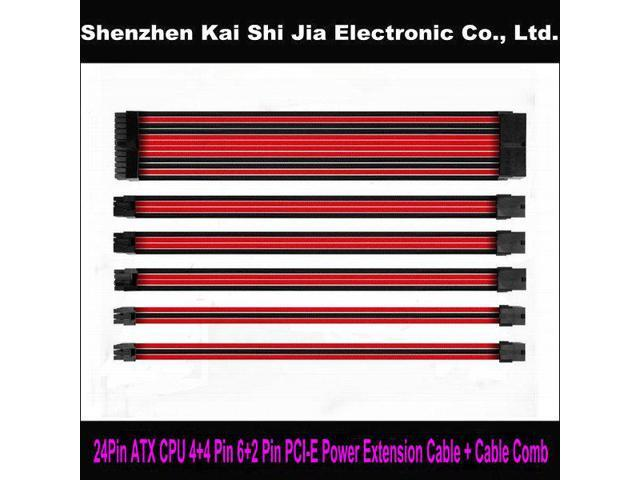 8pin Pcie GPU 45cm Black Red Sleeved Extension Cable with 2 Cable Comb Shakmods