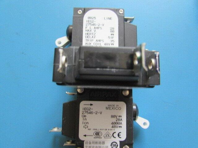 80 VDC Circuit Breaker Switch IEG2-27546-2-V Magnetic New Airpax 28A 35A Trip