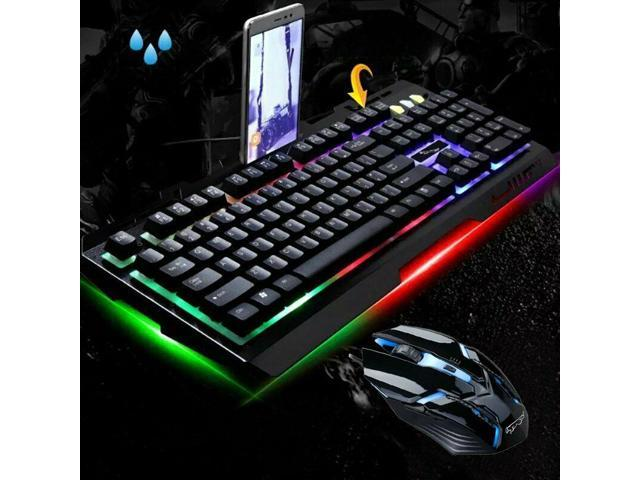 Colorful Backlight Gaming Keyboard & Mouse Combo 2400DPI Mice For PS4 PC  Laptop - Newegg com