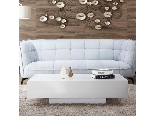 45 Modern High Gloss White Coffee Table End Side Table Living Room Furniture Newegg Com