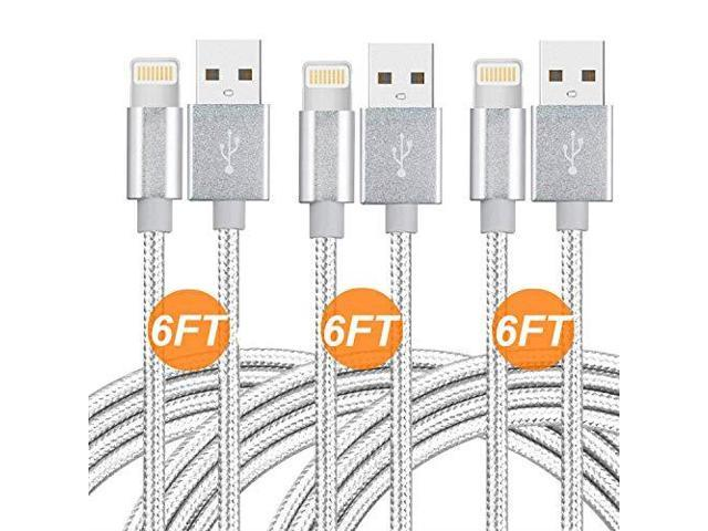 CableCord Short Nylon Braided USB Lightning Charging Cable//Data USB Compatible for iPhoneX Case //8//8 Plus//7//7 Plus//6//6s Plus,iPad Mini Black 8-inch 6-Pack